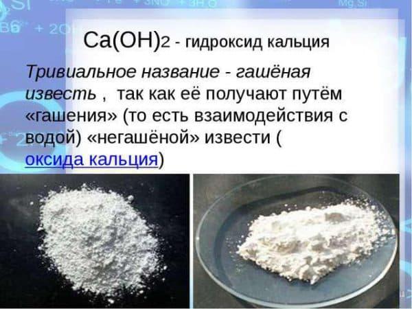 Гашеная известь (гидроксид кальция)