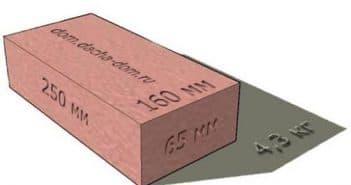 Вес кирпича красного полнотелого 250х120х65